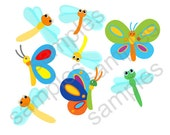 Assorted Butterflies and Dragonflies Wall Decal (set of 8) Butterfly wall decal - Dragonfly Decal -HD