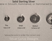 Add On Personalized Charm, Add on Charm, Initial Disc, Solid Sterling Silver Round Disc Charm, Heart Initial Charm