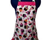 Cupcake Aprons In White Set of 4 Kids Sizes 4-6-8-Young Adult