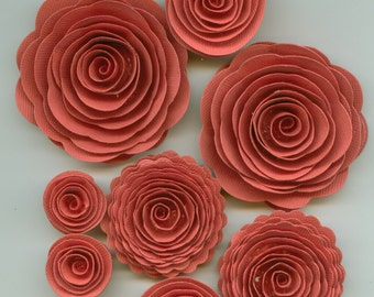 Pink Coral Rose Spiral Paper Flowers for Weddings, Bouquets, Events and Crafts