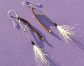 Industrial Forged Copper and Sterling Silver  Earrings With Bucktail