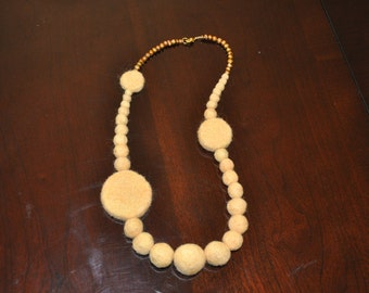 Yellow Felt Necklace- discs and balls with freshwater pearls