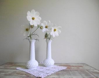Vintage Hobnail Milk Glass Bud Vases | E O Brody Co Milk Glass | Set of 2  White Vases | Vintage Wedding Decor