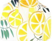 Silk Scarf Hand Painted Italian Lemons Orchard Yellow Accent Silk Neck Accessory Present For Her
