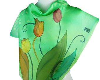 Square Green Silk Scarf Tulip Time. Small Square Scarf.
