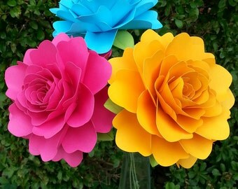 Paper Flowers - Wedding Decorations - Home Decor - X-Large Flowers - Set of 6 - Bright Colors - MADE TO ORDER