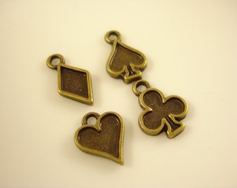 10sets (4pcs per set)  Antiqued Bronze Poker Charm Pendant 15x8mm SB-519