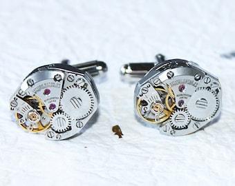 CITIZEN Men Steampunk Cufflinks - Matching Silver Vintage Watch Movement Men Steampunk Cufflinks / Watch Cuff Links Wedding Gift for Men