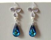 Orchid Wedding Earrings Orchid Earrings Blue Wedding Jewelry Blue Crystal Earrings Sterling Silver Blue Flower Earring Bridal Orchid Jewelry