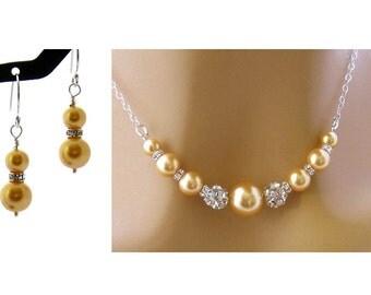 Pearl Gold Jewelry Set, Gold Pearl Bridal Jewelry, Gold Pearl Wedding Jewelry, Gold Pearl Jewelry, Pearl Jewelry, Gold Jewelry, Swarovski