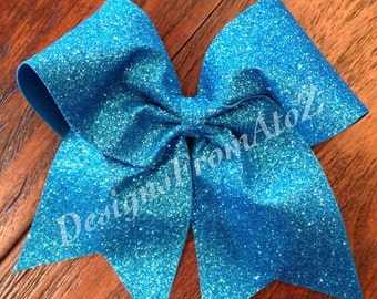 Turquoise Sparkle Cheer Bow