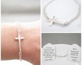Cross Bracelet Sterling Silver | Sideways Cross Bracelet | Godmother Gift | Religious Bracelet | Cross Jewelry | Sterling Silver Cross
