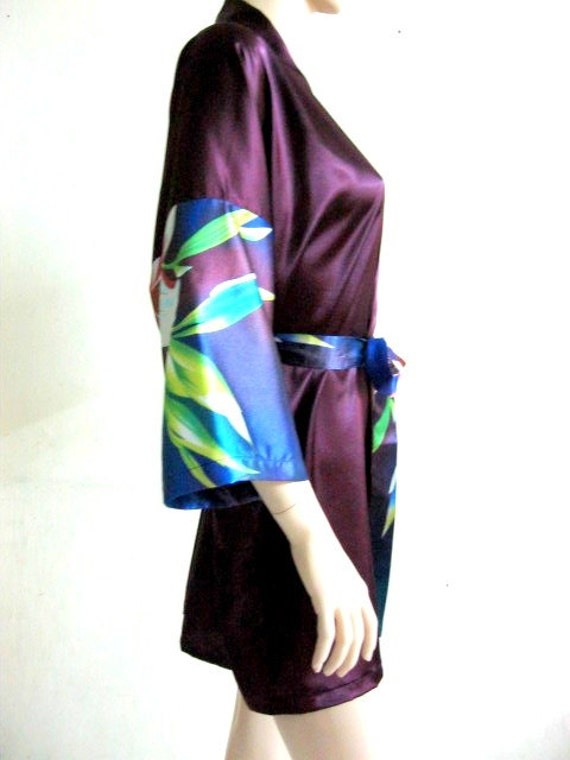 Silk Satin Kimono Robe - Floral Purple Robe - HANDMADE TO ORDER
