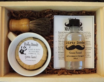 Monogramned Men's Shave Set in Deluxe Wood Box with Aftershave/Cologne,  Badger Brush, Mens Grooming