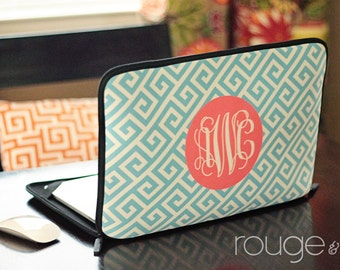 "GREEK personalized laptop sleeve 13"" or 15"" - with monogram - NEW elastic tabs give you the option to keep the sleeve on while you work"