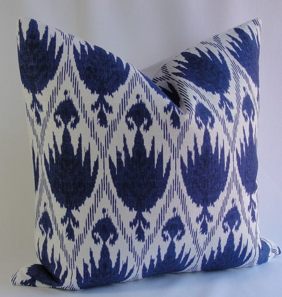 Midnight blue on white ikat decorative pillow cover