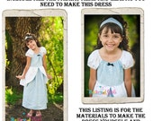 Cinderella Dress DIY Kit, Includes all the fabric, trims, and pattern you need to make your own dress, sizes 5-8