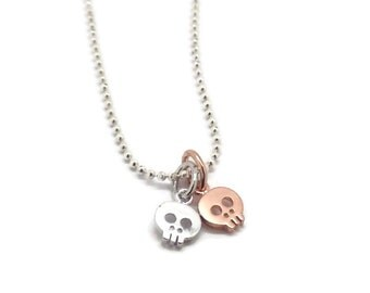 Two Tiny Skulls Charm Necklace, Silver Skull Necklace, Rose Gold Skull Necklace, Small Skull Necklace, Sterling Silver Jewelry, Halloween