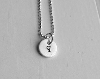 Sterling Silver Initial Necklace, Tiny Letter q Necklace, Initial Pendant, Personalized Jewelry, Sterling Silver Jewelry, All Initials Avail