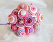 Pink and Purple Toss Bouquet Wedding Flower Girl Mini Bouquet Posy