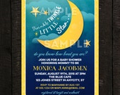 Moon Invitation, Star Invitation, Twinkle Twinkle Little Star Printable Baby Shower or Birthday Invitation, Moon Invitation -- Any Color