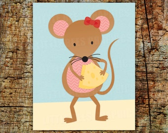 Digital Mouse print, Mouse with Cheese, Woodland Wall Art,  Mouse decor, picture, nursery art -- INSTANT DOWNLOAD