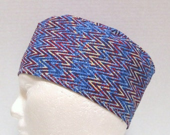 Mens or Unisex Surgical Scrub Hat or Chemo Hat Blue and Red Tribal Chevrons