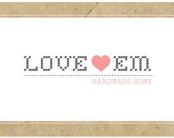 PreDesigned Logo - PreMade Logo - Vector Logo - LOVE EM Logo Design - Heart Logo - Cross Stitch Logo - Sewing Logo - Craft Logo