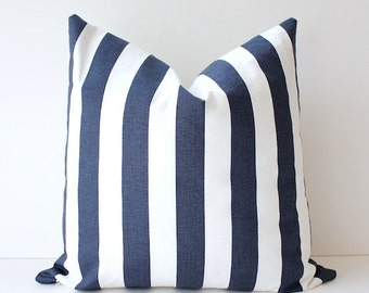 Striped Nautical Navy Blue Designer Pillow Cover White Accent Cushion. Modern Farmhouse cottage dark blue stripe resort summer