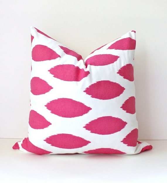 Pink & White ikat Decorative Designer Pillow Cover Accent Cushion fuschia magenta hollywood regency raspberry spot Valentines Day