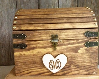 CoUPON CoDE:  BLKFRI10 - Wedding Card Box - NEW Monogram Heart - Lighter Stained Rustic Wood Fairytale Treasure Chest with CARD SLOT