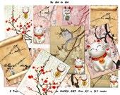 LUCKY CATS Maneki neko 454, japanese lucky cats printable tags digital images ATCs ACEOs scrapbooking,