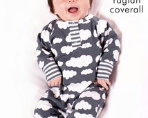 Baby coverall pattern, snap placket neck, detailed photo tutorial, sizes Preemie-6T -Pattern 42