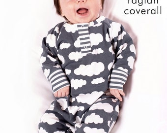 Baby raglan coverall pattern // digital download // photo tutorial // Preemie-6T // #42