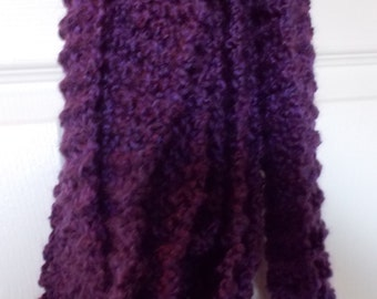 Purple Scarf Dark Royal Purple Very Long Hand Knitted Scarf - 13'