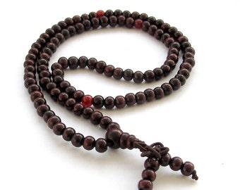 6mm 108 Purple Wood Tibet Buddhist Prayer Beads Rosary Beaded Mala Necklace/Bracelet  ZZ012