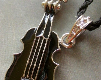 One Bead Musical Instrument Guitar Enamel Alloy Metal Pendant Necklace 46mm x 20mm  T1556