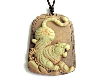 One Bead Two Layer Natural Stone Pendant Charm Carved Tiger 44mm x 32mm  ZP034