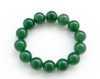 14mm Round Green Agate Tibetan Buddhist Prayer Beads Meditation Wrist Mala Rosary Bracelet  T3150