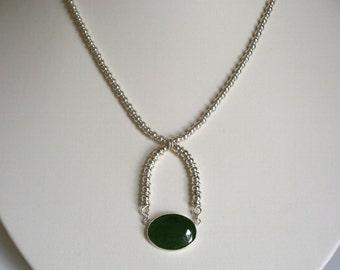Silver Loop Green Jade Cabochon Penadant Silver Beaded Necklace Small Oval Gemstone Pendant Minimalist Silver Drop Pendant