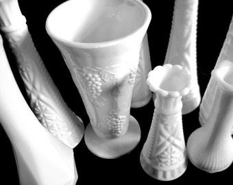Milk Glass Vases, White Wedding Vases, Wedding Table Decor, Beach Wedding, Boho Wedding, Bud Vase Collection, Milk Glass Decor, White Vases