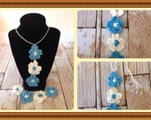 Crocheted flower necklace and bracelet set
