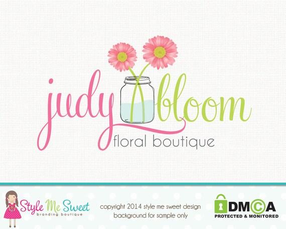 Premade Flower Logo Florist Logo Photography Logo Hand Drawn Gerbra Logo