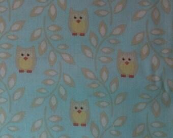 Sweet Heirloom Owls - Cotton Fabric - 1 yard - baby blue