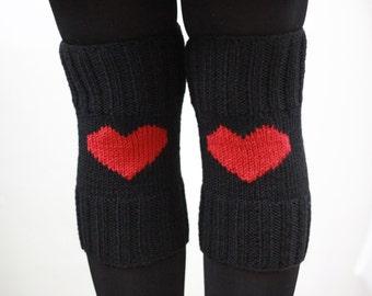 Heart Leg Warmers, Heart knee warmer, Heart knee socks, Heart Boot Cuffs, Black Boot Cuffs, Black Knee socks for boots, Womens legwarmer