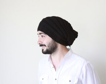 Slouchy beanie men | Black winter mens hat Handmade