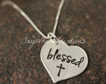 "Hand Stamped Sterling Silver Heart  ""Blessed"" Necklace"