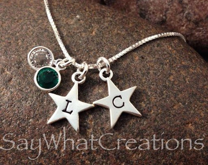 Sterling Silver Hand Stamped Star Necklace with Two Stars and Two Birthstones