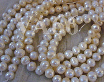 """DIY 15"""" Fresh Water Pearls Round Pearl Beads White Natural Ivory Color 6mm 7mm WP067 Loose Pearls Jewelry Making Findings Craft"""
