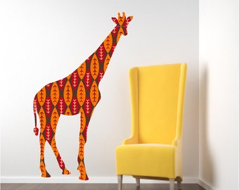 nursery wall decal colorful giraffe wall decal tall giraffe